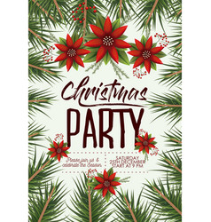 christmas party card with colorful pine branches vector image vector image