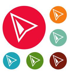 cursor modern icons circle set vector image