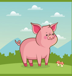cute piggy animal baby with landscape vector image