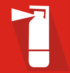 Fire extinguisher icon with long shadow flat vector
