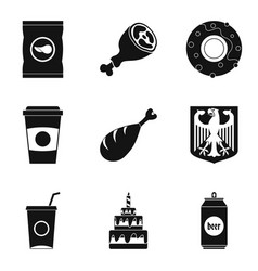 grill icons set simple style vector image vector image