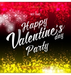 Happy Valentines Day Lettering Party Flyer vector image vector image