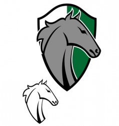 horse cartoon emblems vector image vector image
