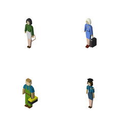 Isometric human set of policewoman hostess vector