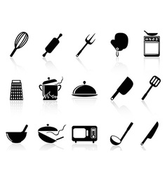 Kitchen utensil icons set vector image vector image