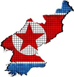North Korea map with flag inside vector image
