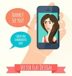 Phone conversation Flat style vector image