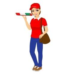pizza delivery girl holding cardboard box vector image