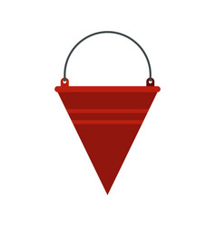 Red fire bucket icon flat style vector