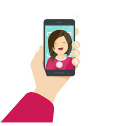selfie via smartphone photo of yourself vector image