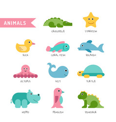set cute animals vector image vector image