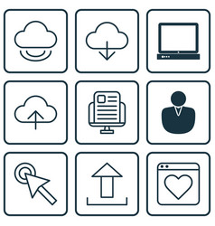 Set of 9 internet icons includes save data pc vector