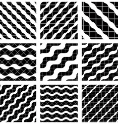 Set of grate seamless patterns with geometric vector image