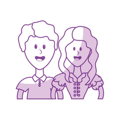 Silhouette cute brazilian couple with hairstyle vector