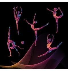 Silhouettes of gymnastic girls art gymnastics vector