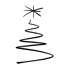 Simple christmas tree sketch vector image