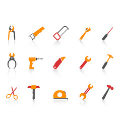 simple orange color hand tool icons set vector image