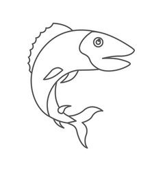 Sketch silhouette of trout fish vector