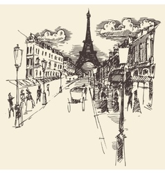 Streets Paris France Vintage Engraved Hand Drawn vector image vector image