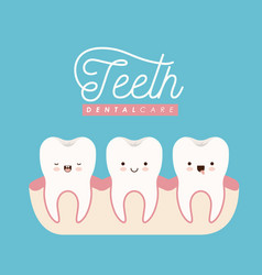 teeth in gum dental care kawaii set with different vector image