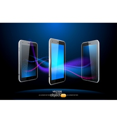 three smartphones vector image