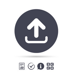 upload sign icon load symbol vector image