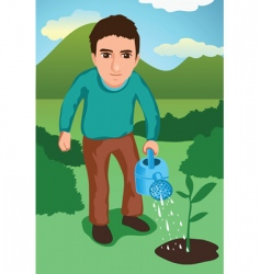 watering the garden vector image