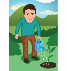 watering the garden vector image vector image