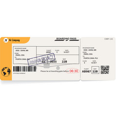 Yellow template of airline boarding pass vector