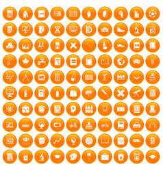 100 school icons set orange vector image vector image