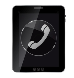 Glass phone button icon on abstract tablet vector