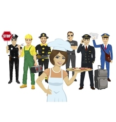 Set of diverse people various professions vector