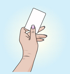 card or bank card in a female hand pop art retro vector image