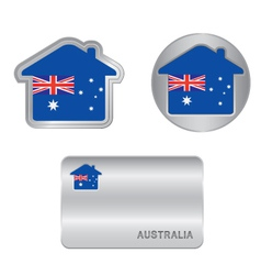 Home icon on the australia flag vector