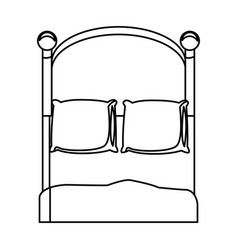 Bedroom two pillow blanket wooden outline vector