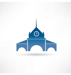 Building with a clock icon vector