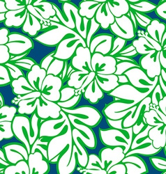 Hibiscus tropical leaves in a seamless pattern vector