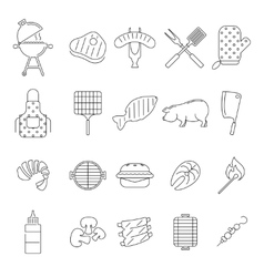 Barbecue or grill icons vector