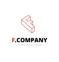 isometric line style F letter logo Company vector image