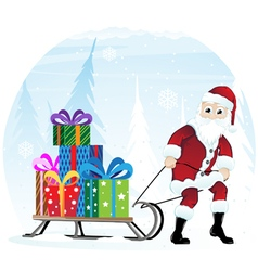 Santa claus with sleigh vector