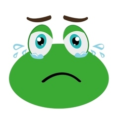 Green avatar frog crying graphic vector