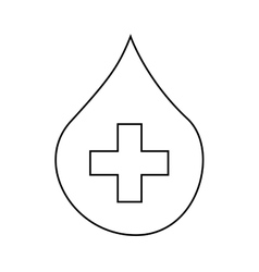 Drop blood with cross isolated icon design vector