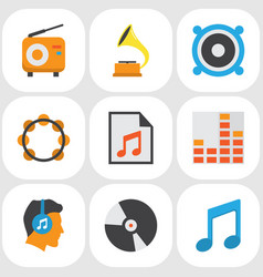 Audio flat icons set collection of male media vector