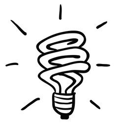 black and white light saving bulb vector image
