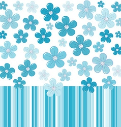 Blue background with flowers and stripes vector image vector image