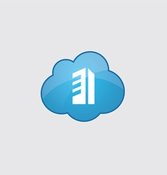 Blue cloud building icon vector image