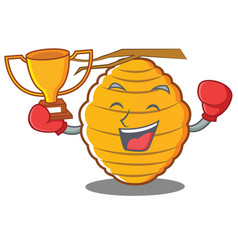 Boxing bee hive character cartoon vector