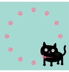 Cat and paw print round frame template flat design vector