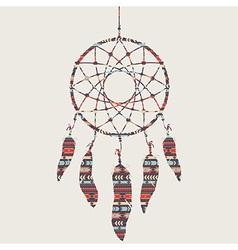 Colorful of dream catcher with ethnic patter vector