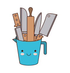 container with knives colorful kawaii silhouette vector image
